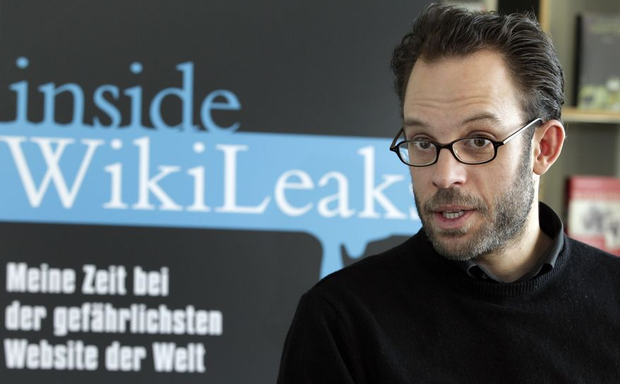 """Daniel Domscheit-Berg, a former WikiLeaks employee who in January launched a rival website called OpenLeaks, speaks with the Associated Press in Berlin on Tuesday, Feb. 8, 2011, about his new book, """"Inside WikiLeaks: My Time With Julian Assange at the World's Most Dangerous Website."""" (AP Photo/Michael Sohn)"""