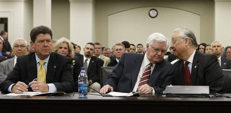 ** FILE ** U.S. Rep. Hal Rogers (center), Kentucky Republican, listens to Kentucky Senate President David Williams as state House Speaker Greg Stumbo sits at left before their testimony before a state Senate committee in Frankfort, Ky., on Thursday, Feb. 3, 2011. All three spoke in support of a bill that would require a prescription for certain cold medicines because of their use in making methamphetamine. (AP Photo/Ed Reinke)