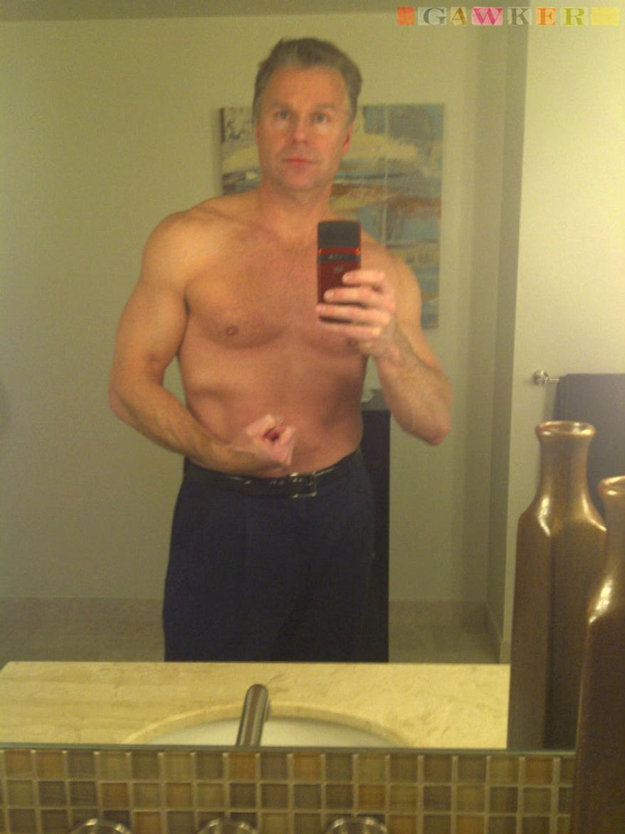 This undated photo provided by Gawker shows Rep. Chris Lee, New York Republican, posing shirtless in front of a mirror. The gossip website reported Wednesday, Feb. 9, 2011 that Mr. Lee, a married two-term Republican lawmaker, had sent the shirtless photo of himself to a woman he met on Craigslist. Mr. Lee abruptly resigned his seat Wednesday. (AP Photo/Gawker)