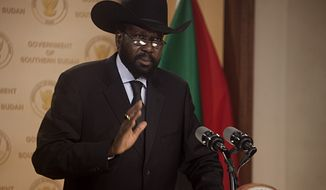 Salva Kiir Mayardit, president of Southern Sudan, outlines a multipoint plan for development in southern Sudan in the lead up to and after independence in Juba on Tuesday, Feb. 8, 2011, on his return from Khartoum where he attended the formal announcement of southern Sudan's referendum results. Southerners cast ballots for independence by margin of nearly 99 percent. The results signify that southern Sudan is set to become the world's newest country in July 2011. (AP Photo/Pete Muller)