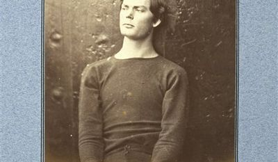This 1865 photo provided by the George Eastman House shows Alexander Gardner's portrait of Lewis Payne, one of the conspirators in the assassination of Abraham Lincoln, before his execution. The albumen print, part of a Union officer's album illustrating the assassination plot, is on display with other Civil War-era photographs at the George Eastman House in Rochester, N.Y., through June 12, 2011. (AP Photo/George Eastman House, Alexander Gardner)