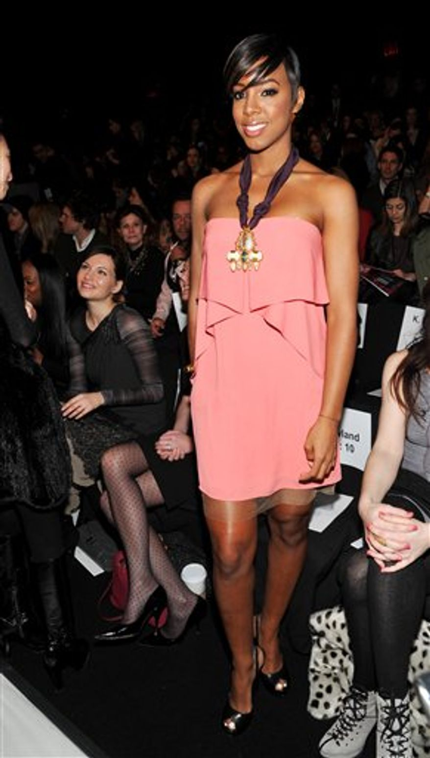 Singer Kelly Rowland attends the BCBGMAXAZRIA Fall 2011 fashion show at Mercedes-Benz Fashion Week on Thursday, Feb. 10, 2011 in New York. (AP Photo/Evan Agostini)