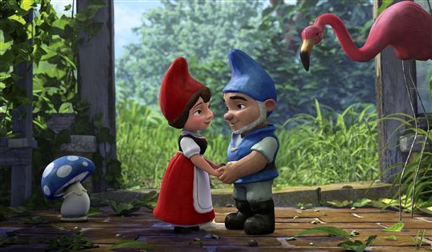 "In this film publicity image released by Touchstone Pictures, Juliet, voiced by Emily Blunt, left, and Gnomeo, voiced by James McAvoy, center, and Featherstone, voiced by Jim Cummings, are shown in a scene from ""Gnomeo and Juliet."" (AP Photo/Touchstone Pictures)"
