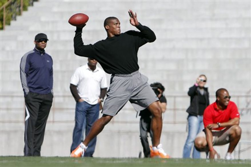 NFL draft prospect Cam Newton looks to throw a pass during a football workout Thursday, Feb. 10, 2011, in San Diego. (AP Photo/Chris Park)