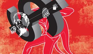 Illustration: Debt by Linas Garsys for The Washington Times