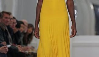 Fashion from the Fall 2011 collection of Victoria Beckham is modeled on Sunday, Feb. 13, 2011 in New York.  (AP Photo/Bebeto Matthews)
