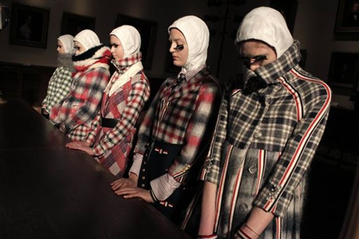 Fall 2011 fashion from Thom Browne is modeled during Fashion Week in New York, Monday, Feb. 14, 2011. (AP Photo/Seth Wenig)