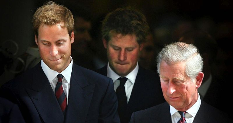 ** FILE ** Britain's Prince William (left) and Prince Harry (center) and their father, Prince Charles, leave a service of thanksgiving for the life of Diana, Princess of Wales, at the Guards' Chapel in London on Friday, Aug. 31, 2007. The two young princes organized the service to commemorate the life of their mother on the 10th anniversary of her death. (AP Photo/Lewis Whyld, Pool)