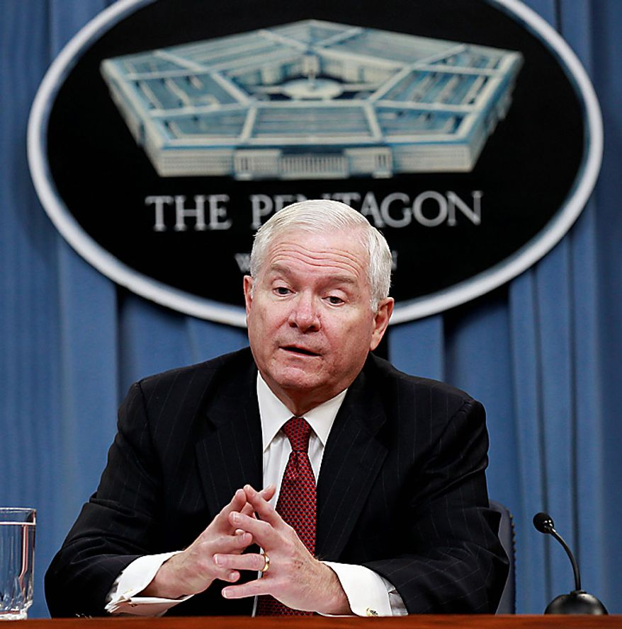 Secretary of Defense Robert Gates talks about the Defense Department's proposed budget at the Pentagon in Washington, Monday, Feb. 14, 2011.(AP Photo/Alex Brandon)