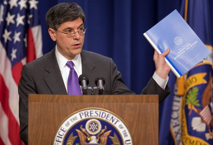 ** FILE ** Office of Management and Budget Director Jacob Lew discusses the White House budget on Monday, Feb. 14, 2011, in Washington. (Associated Press)