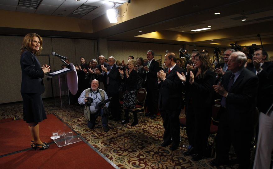 ** FILE ** Rep. Michele Bachmann, Minnesota Republican, speaks at a reception in Des Moines, Iowa, on Friday, Jan. 21, 2011. (AP Photo/Charlie Neibergall, File)