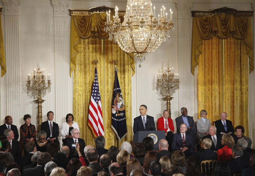 President Obama speaks in the East Room of the White House in Washington on Tuesday, Feb. 15, 2011, during the Medal of Freedom ceremony. (AP Photo/Charles Dharapak)