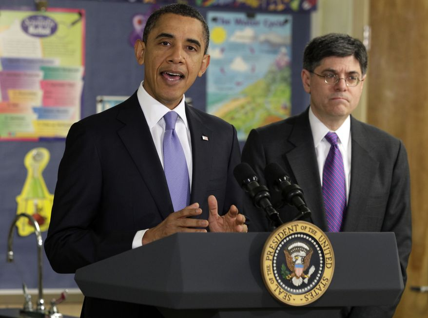 President Barack Obama speaks at Parkville Middle School and Center of Technology, in Parkville, Md., Monday, Feb., 14, 2011. At right is Office of Management and Budget Director Jacob Lew. (AP Photo/Carolyn Kaster)