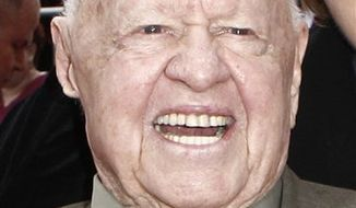 "FILE - In this Oct. 27, 2009 file photo, actor Mickey Rooney arrives at the premiere of ""Michael Jackson's This Is It,"" in Los Angeles. (AP Photo/Matt Sayles, file)"