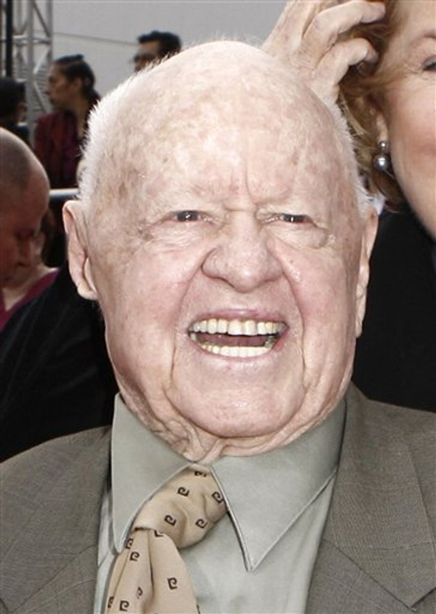 """FILE - In this Oct. 27, 2009 file photo, actor Mickey Rooney arrives at the premiere of """"Michael Jackson's This Is It,"""" in Los Angeles. (AP Photo/Matt Sayles, file)"""