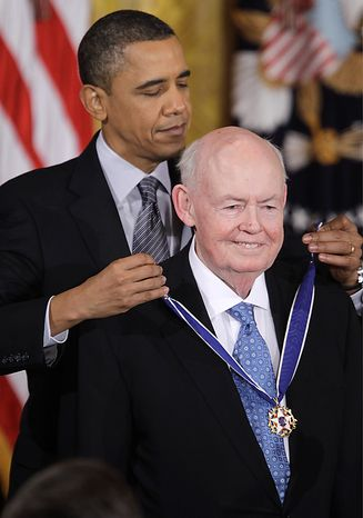 President Barack Obama presents AFL-CIO President Emeritus John Sweeney the 2010 Medal of Freedom during a ceremony in the East Room of the White House in Washington, Tuesday, Feb. 15, 2011. (AP Photo/Charles Dharapak)