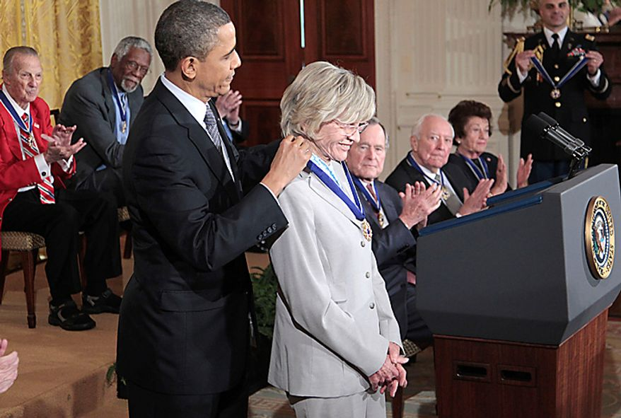 President Barack Obama presents a Medal of Freedom to Jean Kennedy Smith during a ceremony in the East Room of the White House in Washington, Tuesday, Feb. 15, 2011. (AP Photo/Pablo Martinez Monsivais)