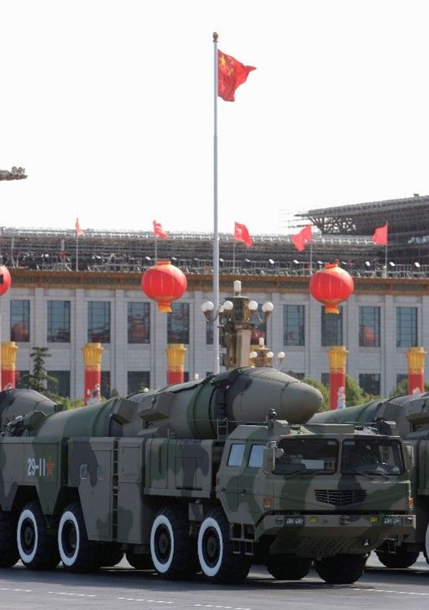 The Dong Feng 21D missiles, thought to be capable of hitting a powerfully defended moving target, were paraded past Tiananmen Square in Beijing in October 2009. (Associated Press)