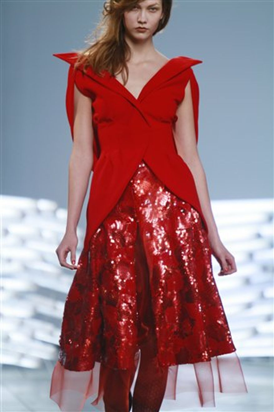 Fashion from the fall 2011 collection of Rodarte is modeled on Tuesday, Feb. 15, 2011 in New York.  (AP Photo/Bebeto Matthews)