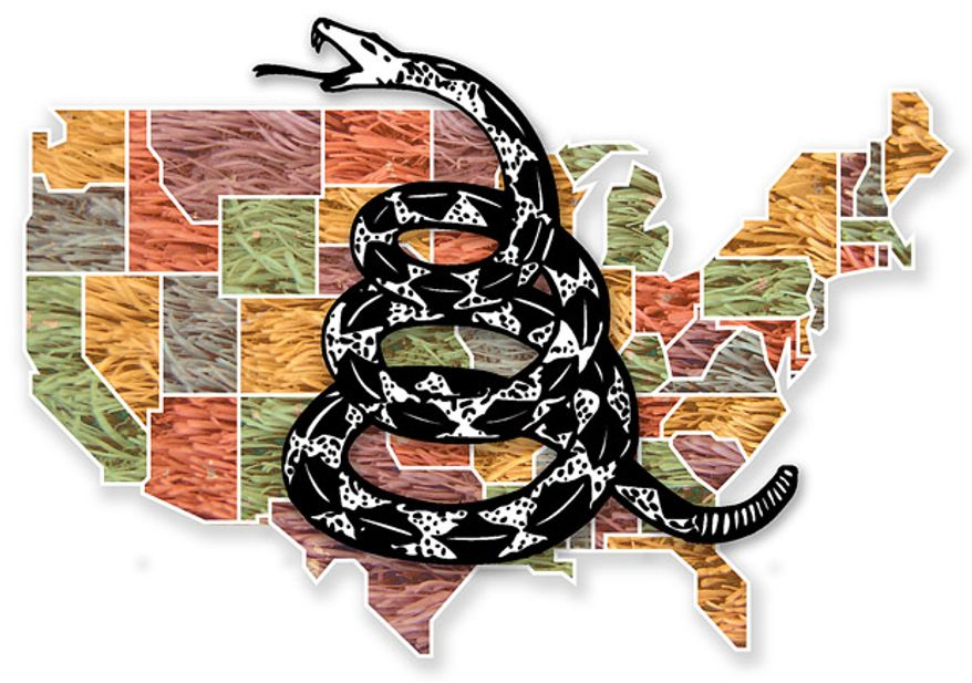 Illustration: Tea Party fabric by Greg Groesch for The Washington Times