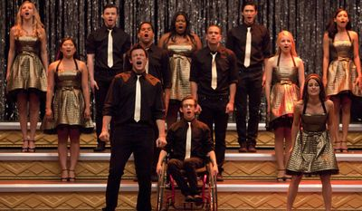 """In this 2010 publicity image released by Fox, the cast of """"Glee,"""" front row from left, Cory Monteith, Kevin McHale and Lea Michele, center row from left, Jenna Ushkowitz, Dijon Talton, Mark Salling and Dianna Agron, back row from left, Heather Morris, Chris Colfer, Amber Riley, Harry Shum Jr. and Naya Rivera perform """"Don't Stop Believing"""" in the season finale episode of the series which aired on June 8, 2010. (AP Photo/Fox, Adam Rose)"""
