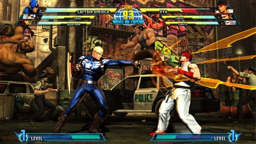 "In this video game image released by Capcom, Captain America, left, battles ""Street Fighter"" star Ryu in ""Marvel vs. Capcom 3: Fate of Two Worlds."" (AP Photo/Capcom)"