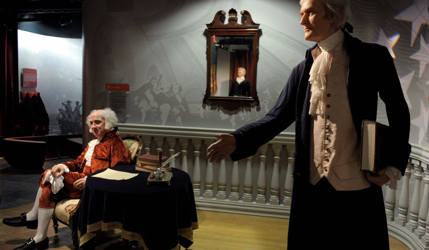 Wax figures of Presidents John Adams (left) and Thomas Jefferson are part of a new exhibit at Madame Tussauds wax museum in Washington. The new gallery presents wax figures of all 44 U.S. presidents (43 figures) together in the nation's capital for the first time. (Associated Press)
