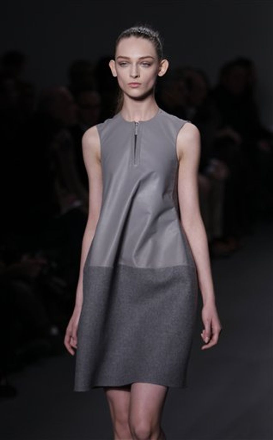 Fall 2011 fashion from Calvin Klein is modeled during Fashion Week in New York, Thursday, Feb. 17, 2011.  (AP Photo/Seth Wenig)