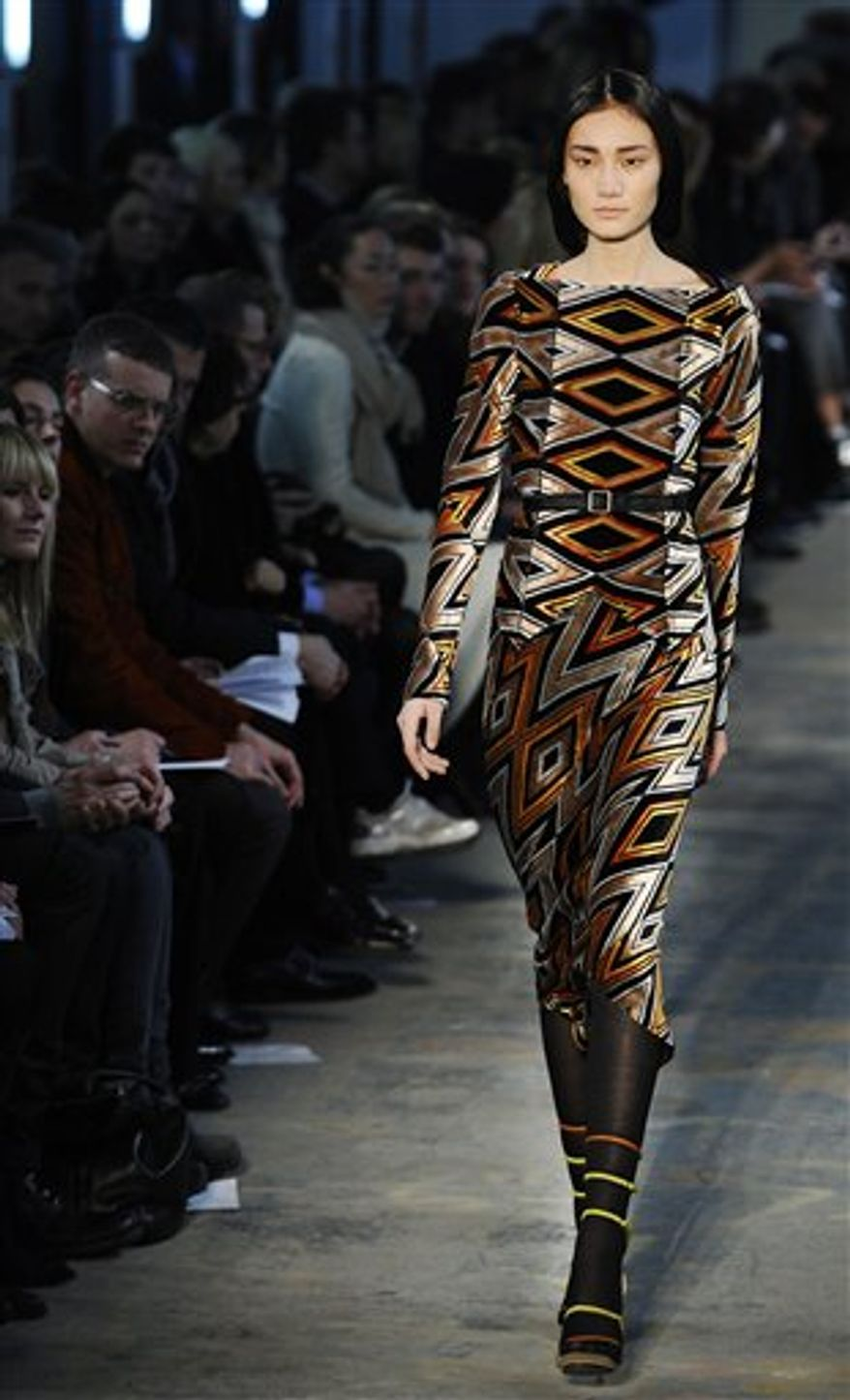 Fall 2011 fashion from designer Proenza Schouler is modeled during Fashion Week Wednesday, Feb. 16, 2011 in New York. (AP Photo/Stephen Chernin)