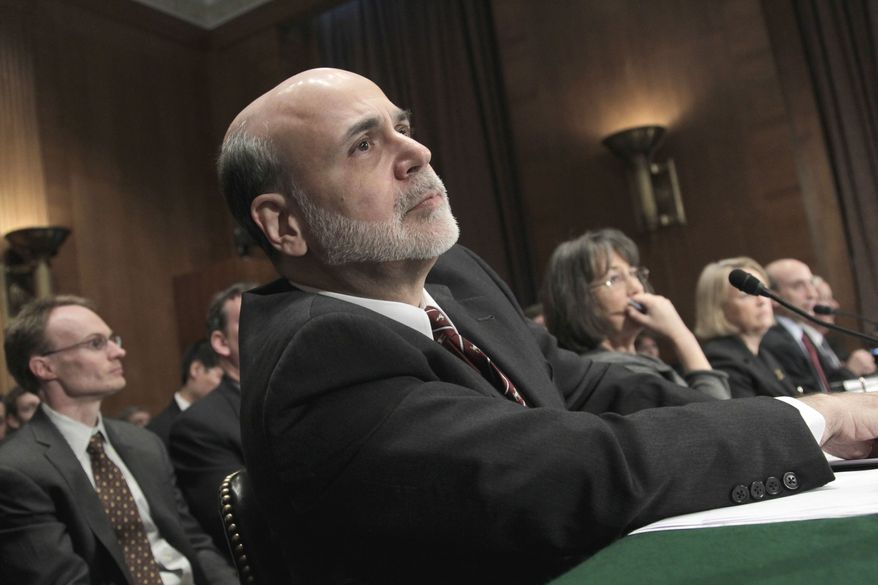 Federal Reserve Chairman Ben S. Bernanke testifies on Thursday, Feb. 17, 2011, on Capitol Hill in Washington at the Senate Banking Committee hearing on the Dodd-Frank law, the sweeping financial reforms passed six months ago to prevent a repeat of the economic crisis. (AP Photo/J. Scott Applewhite)