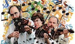 Illustration: Media violins by Greg Groesch for The Washington Times