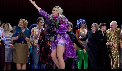 Anna Nicole played by actress Eva-Maria Westbroek takes a bow at the curtain call of Anna Nicole: An Opera in Two Acts Thursday, Feb. 17, 2011, at the Royal Opera House in London. (AP Photo/Joel Ryan)