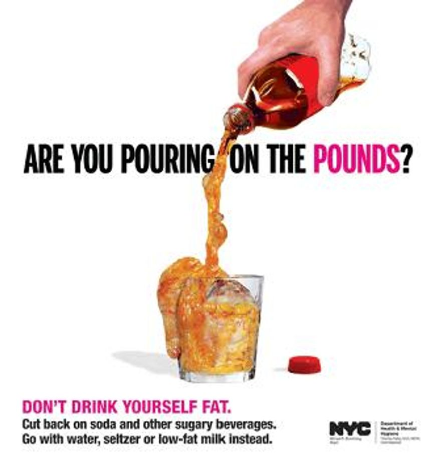 "Poster promoting New York City's ""Pouring on the Pounds"" campaign (Courtesy of nyc.gov)"