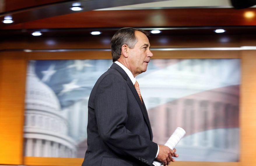 """House Speaker John A. Boehner, Ohio Republican, had """"no comment"""" when asked by reporters over the weekend if he would seek to get the Senate to restore funding for a defense contract in his congressional district that was cut in the House. (Associated Press)"""