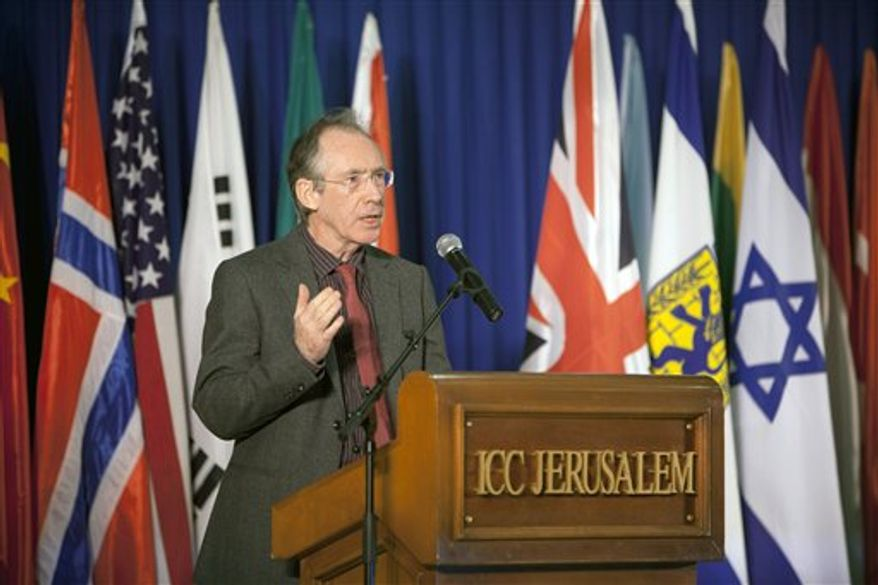 English author Ian McEwan speaks at the awarding ceremony of the Jerusalem Prize, Israel's highest literary honor for foreign writers, at the Jerusalem International book fair in Jerusalem, Sunday, Feb. 20, 2011. McEwan has accepted an Israeli literary prize in Jerusalem with harsh criticism of Jewish settlements in the West Bank. (AP Photo/Oded Balilty)
