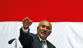 ** FILE ** Yemeni President Ali Abdullah Saleh gestures during a meeting with his supporters in Sanaa, Yemen, on Sunday, Feb. 20, 2011. (AP Photo/Hani Mohammed, File)