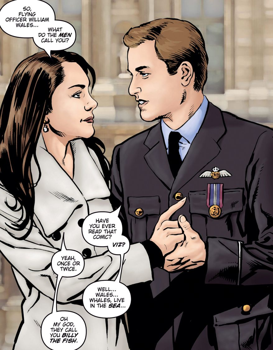 "HAPPILY EVER AFTER: The love story of Prince William and Kate Middleton is chronicled in ""Kate and William: A Very Public Love Affair."" The comic book is due to be published in April. (Associated Press)"