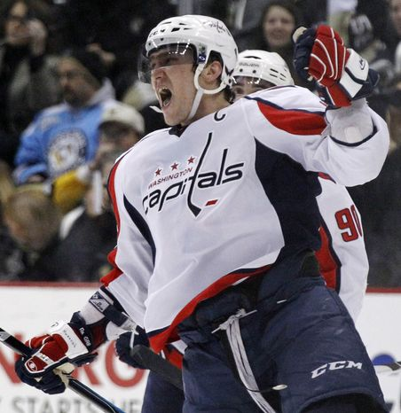 ** FILE ** Alex Ovechkin of the Washington Capitals celebrates his goal in the second period against the Pittsburgh Penguins in Pittsburgh on Monday, Feb. 21, 2011. (AP Photo)