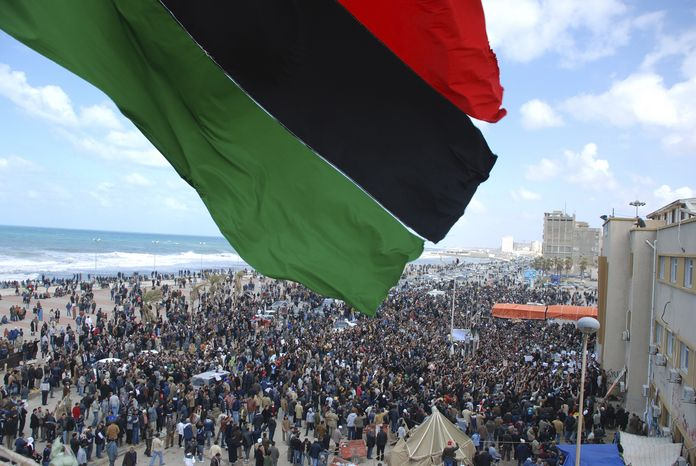 This photograph, obtained by the Associated Press outside Libya and taken by a person not employed by AP, shows a scene from recent days' unrest in Benghazi, Libya. (AP Photo)
