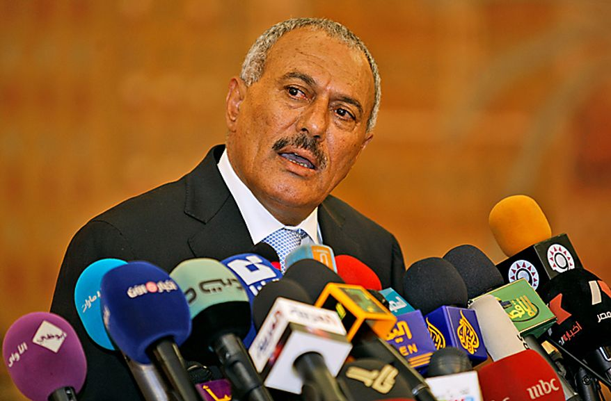 """Yemeni President Ali Abdullah Saleh speaks during a media conference in Sanaa, Yemen, on Monday, Feb. 21, 2011. Mr. Saleh rejected demands that he step down and said the widespread demonstrations against his regime were unacceptable acts of provocation, though he renewed calls for talks with the protesters. After a week and a half of marches that have left nine dead, Mr. Saleh said that he had ordered the army to fire at demonstrators """"only in case of self-defense."""" (AP Photo/Hani Mohammed)"""