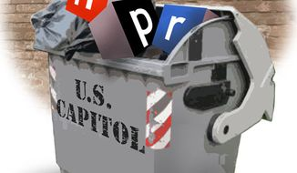 Illustration: NPR faces budget axe by Greg Groesch for The Washington Times