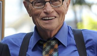 "FILE - In this Sept. 14, 2010 file photo, broadcaster Larry King is shown in Los Angeles. King who retired last year after 25 years at CNN will be taking the stage in seven communities to dish about his storied career in a one-man show. ""Larry King: Stand Up"" kicks off April 14, 2011 in Torrington, Conn. (AP Photo/Chris Pizzello, file)"