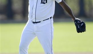 FILE - This Feb. 14, 2011, file photo shows Detroit Tigers relief pitcher Jose Valverde reacting after missing a ground ball during a baseball spring training workout Monday, Feb. 14, 2011, in Lakeland, Fla. After looking like one of baseball's best closers early in the season, Valverde struggled late. He'll try to get back on track as part of what could be an impressive Detroit bullpen. (AP Photo/David J. Phillip, File)