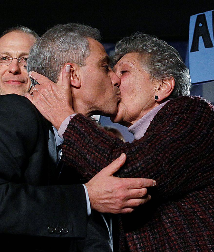 Former White House Chief of Staff Rahm Emanuel gets a kiss from his mother, Marsha Smulevitz, after winning the Chicago mayoral race on Tuesday, Feb. 22, 2011. Mr. Emanuel easily overwhelmed five rivals to earn the right to take the helm of the nation's third-largest city as it prepares to chart a new course without the retiring longtime Mayor Richard M. Daley. (AP Photo/Charles Rex Arbogast)