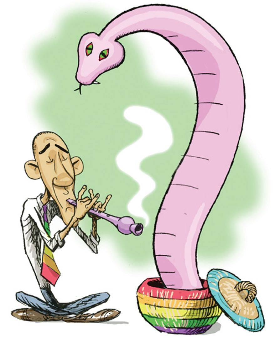 Illustration: Snake charmer by Alexander Hunter for The Washington Times