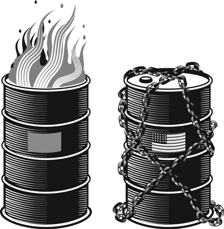 Illustration: Oil drums by Linas Garsys for The Washington Times