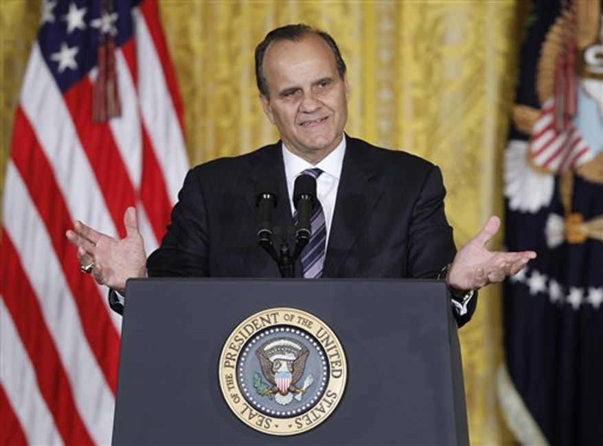 FILE - This Oct. 27, 2010, file photo shows former Major League Baseball manager Joe Torre speaking before President Barack Obama arrives at an event marking Domestic Violence Awareness Month in the East Room of the White House in Washington. A person with knowledge of the appointment says Torre has been hired as Major League Baseball's executive vice president of baseball operations. The person spoke to The Associated Press on condition of anonymity Friday, Feb. 25, 2011,  because commissioner Bud Selig isn't expected to formally introduce Torre until Saturday. (AP Photo/Charles Dharapak, File)