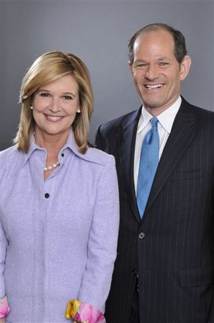 """In this undated publicity image released by CNN, former New York Gov. Eliot Spitzer, right, and Kathleen Parker, co-hosts of CNN's prime-time talk show """"Parker/Spitzer,"""" are shown.  (AP Photo/CNN, Lorenzo Bevilaqua)"""