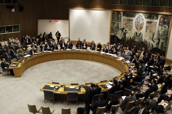 The U.N. Security Council meets on Saturday, Feb. 26, 2011, to consider new sanctions against Libya to halt a violent crackdown on anti-government protesters, but members disagreed over a proposal to refer Libyan leader Moammar