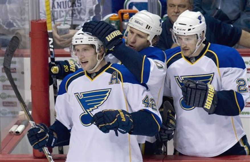 St. Louis Blues center David Backes (42) celebrates his goal with teammates Alexander Steen (20) and Brad Boyes (22) during the second period of an NHL hockey game Thursday, Feb. 24, 2011, in Vancouver, British Columbia. (AP Photo/The Canadian Press, Jonathan Hayward)